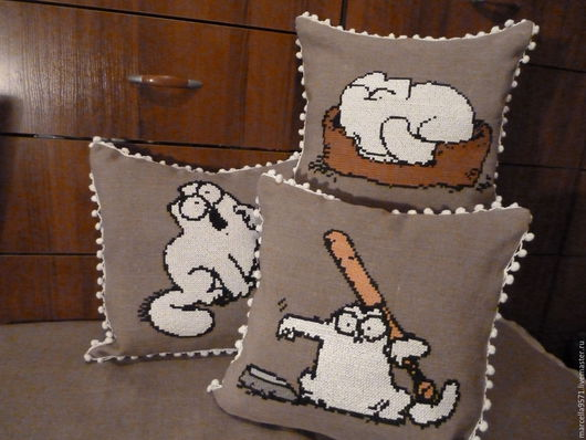 Текстиль, ковры ручной работы. Ярмарка Мастеров - ручная работа. Купить Комплект вышитых чехлов на подушку Кот Саймона. Handmade.