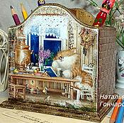 """Канцелярские товары ручной работы. Ярмарка Мастеров - ручная работа карандашница """"Кошкин дом"""". Handmade."""
