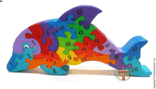 Развивающие игрушки ручной работы. Ярмарка Мастеров - ручная работа. Купить Дельфинчик Деревянный паззл. Handmade. Дельфин, деревянная игрушка