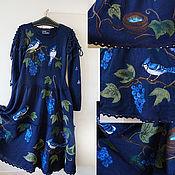 """Одежда ручной работы. Ярмарка Мастеров - ручная работа Платье синее """"Семья соек в винограде"""". Handmade."""
