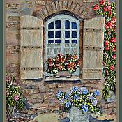"""Картины и панно ручной работы. Ярмарка Мастеров - ручная работа Картина вышитая лентами """"Окно в сад"""". Handmade."""