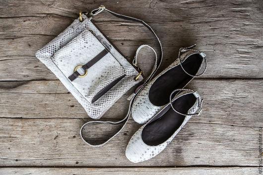 Обувь ручной работы. Ярмарка Мастеров - ручная работа. Купить Балетки из натуральной кожи питона. Handmade. Белый, женская обувь