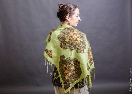 платок,шаль,валяная шаль,бактус,теплая шаль,купить шаль,платок с цветами,шаль с цветами,теплый подарок,шаль на осень,шаль на весну