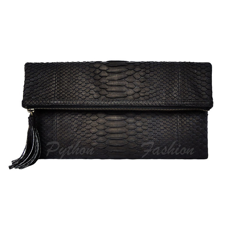 Clutch made from Python. Classic clutch from Python. The clutch is of Python with tassels. Stylish clutch bag handmade. Evening clutch made of Python. Clutch of Python zip. Black clutch bag of Python