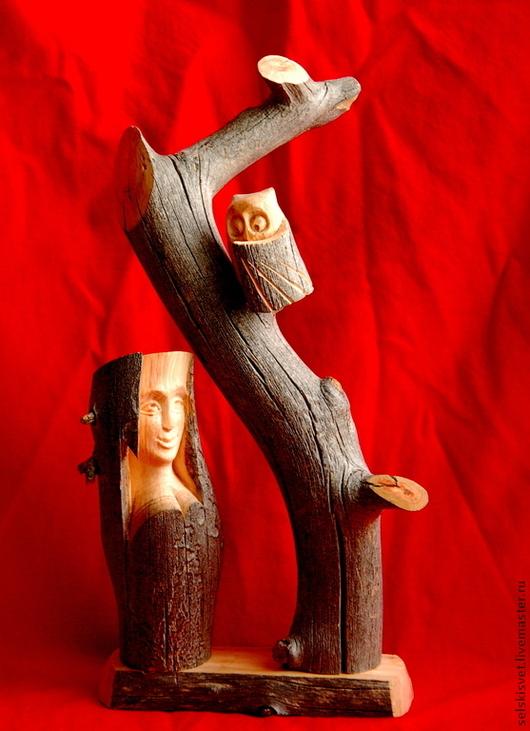 """Статуэтки ручной работы. Ярмарка Мастеров - ручная работа. Купить """"Лесная тайна"""" (композиция из дерева). Handmade. Серый, тайна, древесина"""