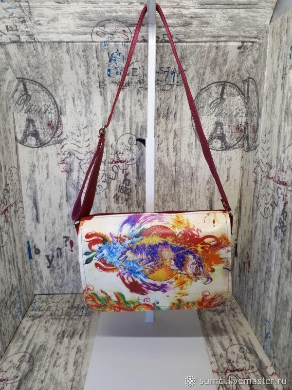 Bag cross body. Genuine Leather Print Ethno Wolves, Classic Bag, Zvenigorod,  Фото №1