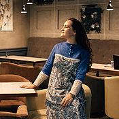 Платья ручной работы. Ярмарка Мастеров - ручная работа Платья: длинное синее платье из плотного хлопка. Handmade.