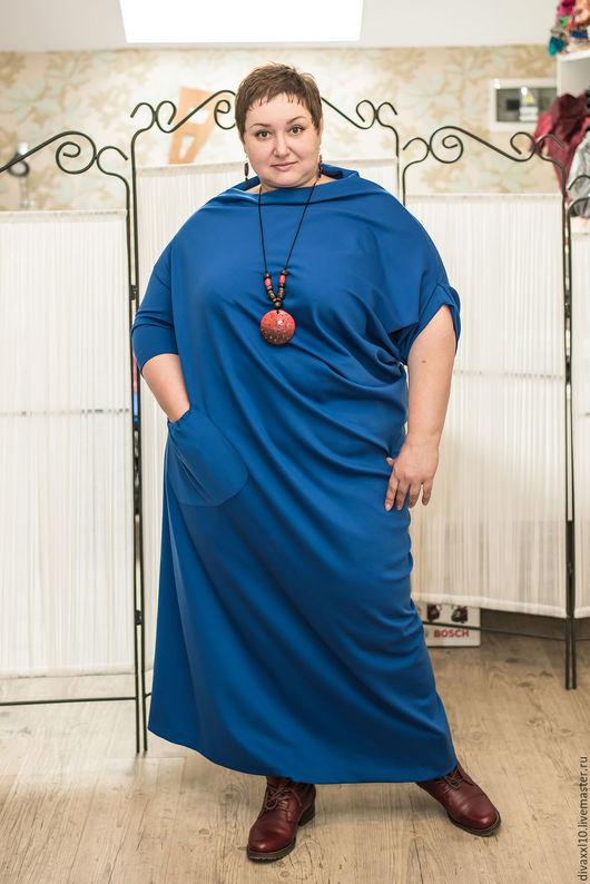 Большие размеры ручной работы. Ярмарка Мастеров - ручная работа. Купить Платье синее трикотажное ассиметричное. Handmade. Тёмно-синий