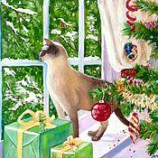 Картины и панно ручной работы. Ярмарка Мастеров - ручная работа 25. Новогодняя картина Чудо 40 на 50 см холст масло зеленый кошка кот. Handmade.