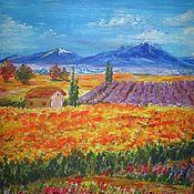"""Картины ручной работы. Ярмарка Мастеров - ручная работа Картина акрилом """"Цветные луга в горах"""". Handmade."""