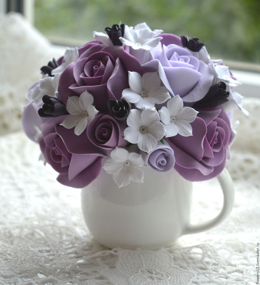 Интерьерные композиции ручной работы. Ярмарка Мастеров - ручная работа. Купить Букетик  из роз и стефанотисов. Handmade. Розы, букет