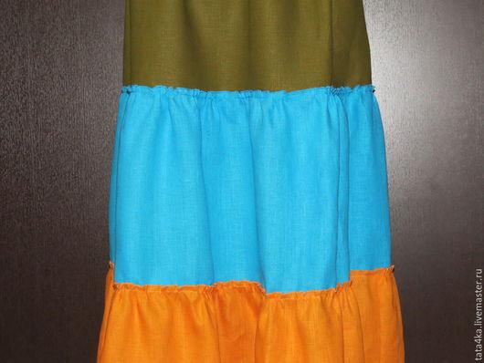 Юбки ручной работы. Ярмарка Мастеров - ручная работа. Купить Льняная юбка. Handmade. Разноцветный, юбка в пол, море, оранжевый