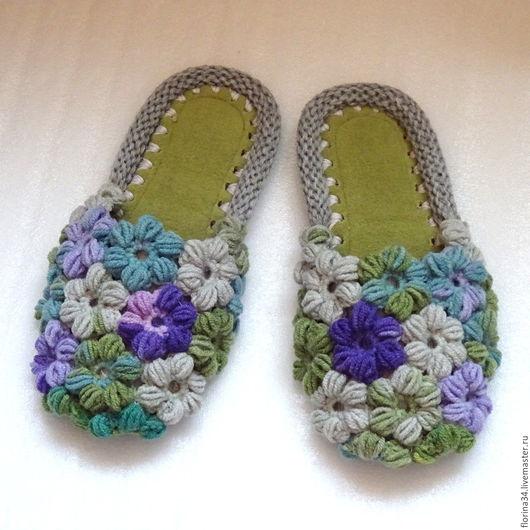 Обувь ручной работы. Ярмарка Мастеров - ручная работа. Купить Тапочки вязаные  Клумба, зеленый, полушерсть, р.38-39. Handmade.