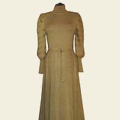 Одежда ручной работы. Ярмарка Мастеров - ручная работа Платье с пышными рукавами бежевое. Handmade.