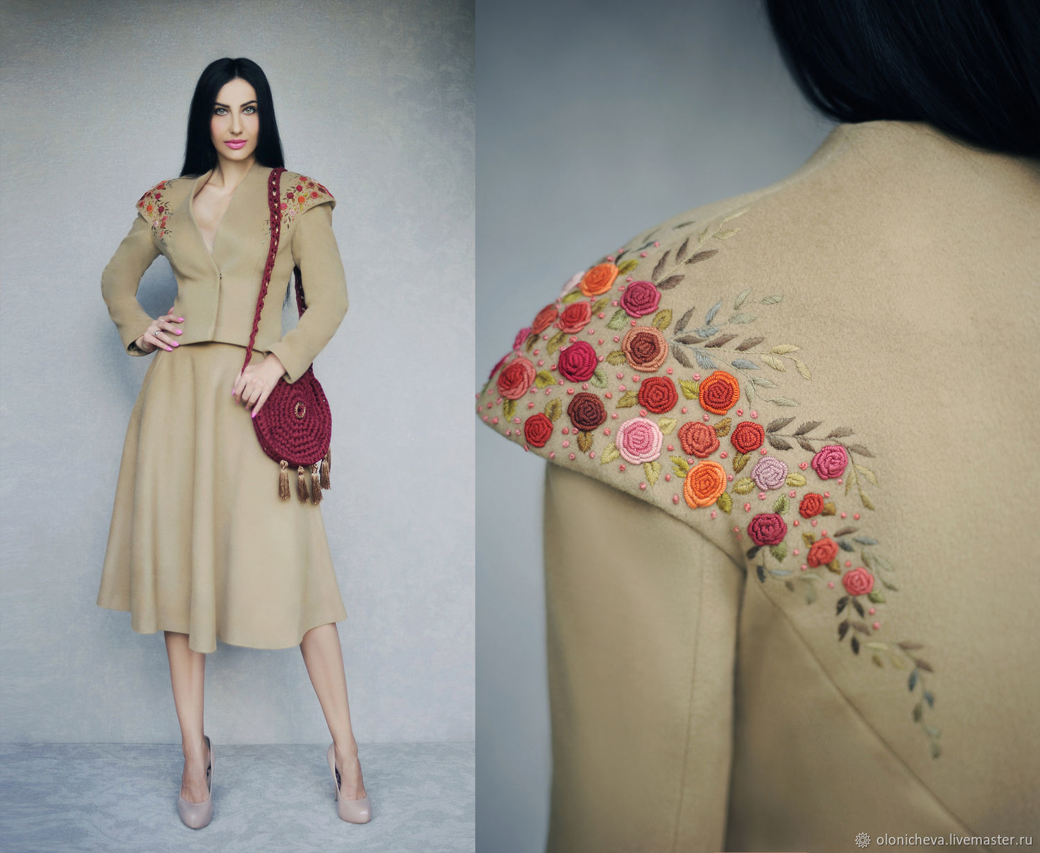 Costumes handmade. Livemaster - handmade. Buy Fall suit with hand embroidery 'Maroon scattering'.Kit, women's costume