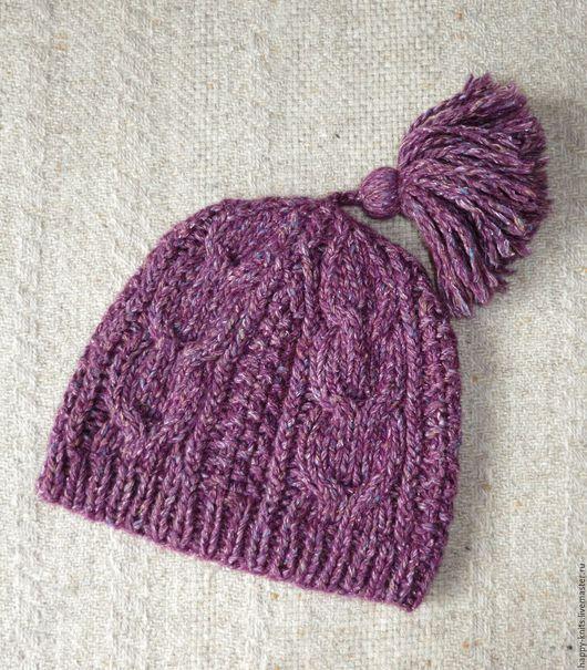 `Зимняя фиалка` - шапка из толстой дизайнерской пряжи, зимняя шапка