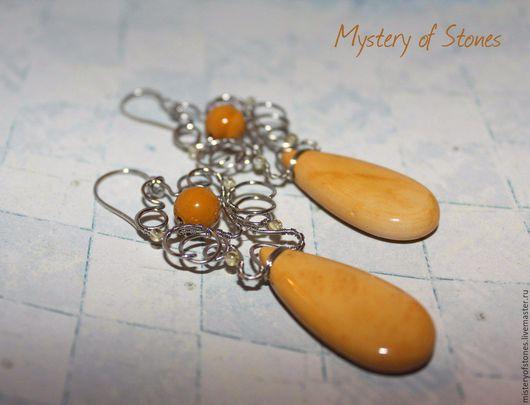 """Серьги ручной работы. Ярмарка Мастеров - ручная работа. Купить Серьги """"Горчичный мёд"""". Handmade. Оранжевый, песочный, мед, яшма"""