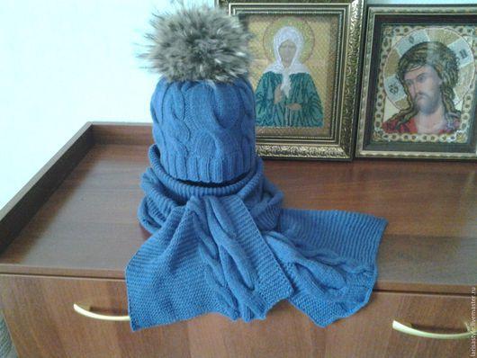 Шапки ручной работы. Ярмарка Мастеров - ручная работа. Купить Вязаный зимний комплект шапка и шарф. Handmade. Вязаная шапка