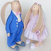 """Свадебный салон ручной работы. Ярмарка Мастеров - ручная работа """"Небеса и зефир"""" свадебные зайцы в подарок на свадьбу. Handmade."""