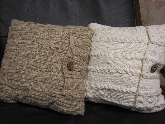 Текстиль, ковры ручной работы. Ярмарка Мастеров - ручная работа. Купить Комплект вязаных подушек. Ручное вязание на заказ.. Handmade.