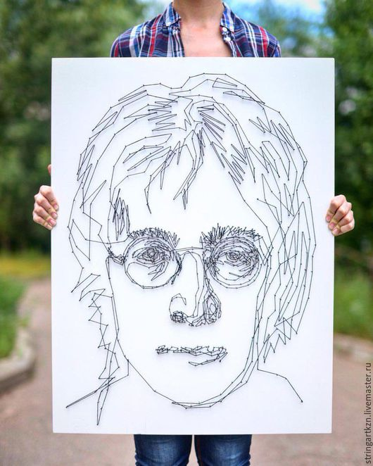 """Люди, ручной работы. Ярмарка Мастеров - ручная работа. Купить Картина гвоздями и нитками """"Джон Леннон"""". Handmade. Чёрно-белый"""