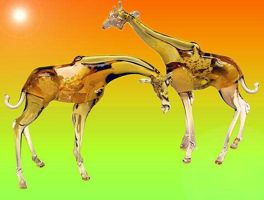 Миниатюра ручной работы. Ярмарка Мастеров - ручная работа. Купить Фигурка  стекло Жираф. Handmade. Жираф, оранжевый, африка