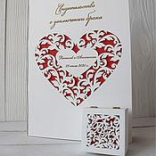 Свадебный салон handmade. Livemaster - original item Set for wedding: cover certificate and jewelry box for rings. Handmade.