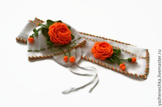Детские аксессуары ручной работы. Ярмарка Мастеров - ручная работа. Купить Шапка и шарф из шерсти для девочки. Комплект Оранжевые розы. Handmade.