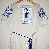 """Русский стиль handmade. Livemaster - original item Вышитая женская рубаха """"Репейник"""" с коротким рукавом. Handmade."""