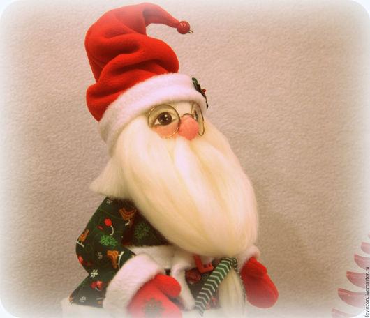 Коллекционные куклы ручной работы. Ярмарка Мастеров - ручная работа. Купить Новогодний Санта-Мороз. Handmade. Тёмно-зелёный, хлопок
