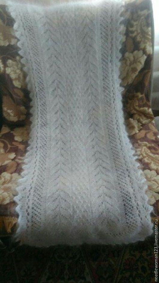 Шарфы и шарфики ручной работы. Ярмарка Мастеров - ручная работа. Купить ажурный белый шарф. Handmade. Белый, козий пух