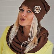 Аксессуары ручной работы. Ярмарка Мастеров - ручная работа Комплект шапка бини и снуд - цвет корица. Handmade.