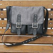 Men\`s bag handmade. Livemaster - original item Men`s messenger shoulder bag genuine leather and textile HELIOS. Handmade.