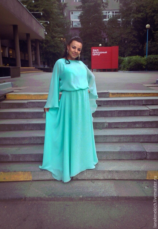 Платья в пол цвета тиффани фото