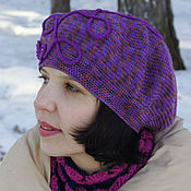 Аксессуары handmade. Livemaster - original item Women`s beret hat for spring elegant crocheted Lilac. Handmade.