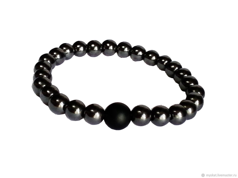 Bracelet made of hematite and shungite, Bead bracelet, Moscow,  Фото №1