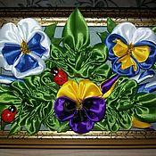 Панно ручной работы. Ярмарка Мастеров - ручная работа Панно: цветы в технике канзаши. Handmade.
