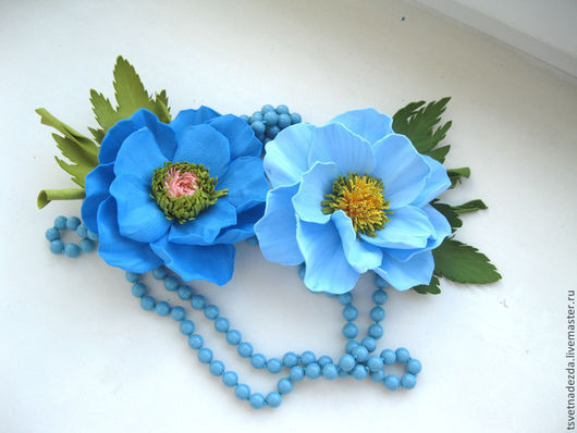 """Броши ручной работы. Ярмарка Мастеров - ручная работа. Купить Брошь """"Голубой анемон"""". Handmade. Голубой, цветок"""