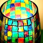"""Для дома и интерьера ручной работы. Ярмарка Мастеров - ручная работа Ваза -  витраж """"Разноцветная шахматка"""". Handmade."""