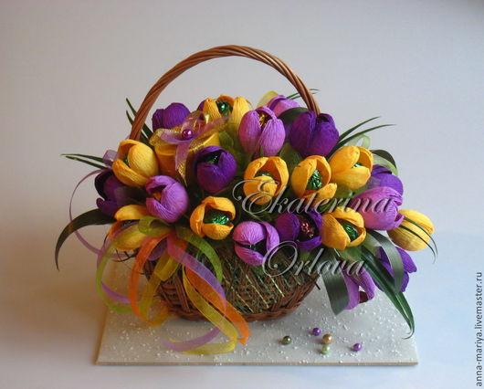 Букеты ручной работы. Ярмарка Мастеров - ручная работа. Купить Первоцветы (букет из конфет). Handmade. Подарок, подарок женщине, весна