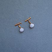 "Украшения handmade. Livemaster - original item cuff links female ""two clouds"" blue agate, brass. Handmade."