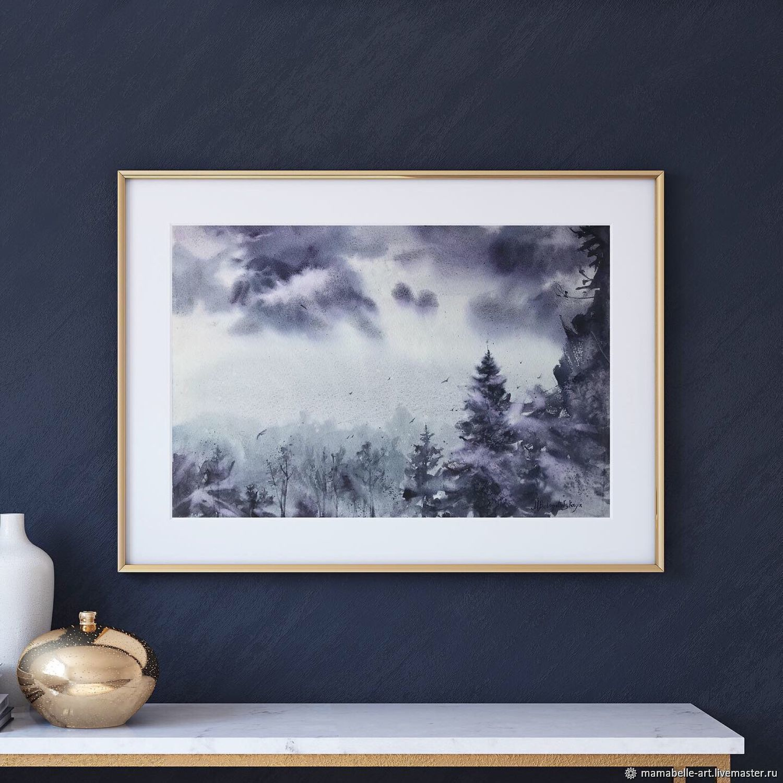Foggy forest. Watercolor (dark purple, purple, dark blue), Interior elements, Ekaterinburg,  Фото №1