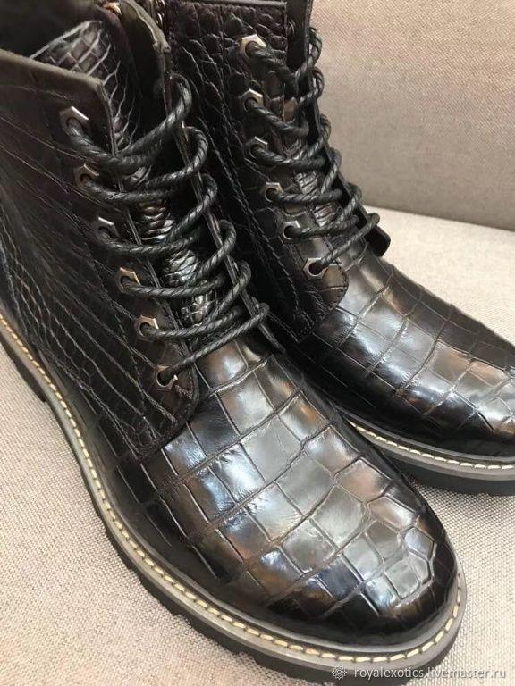 Men's lace-up shoes, crocodile leather, black, Boots, Tosno,  Фото №1