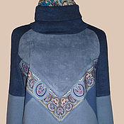 Одежда ручной работы. Ярмарка Мастеров - ручная работа Джемпер  с отделкой из павловопосадского платка. Handmade.