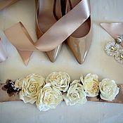 Свадебный салон ручной работы. Ярмарка Мастеров - ручная работа Пояс с розами. Handmade.