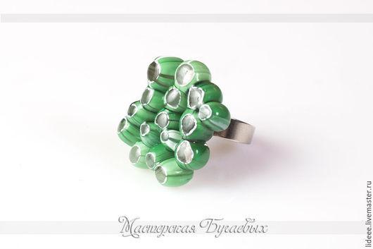Кольца ручной работы. Ярмарка Мастеров - ручная работа. Купить Комплект украшений из стекла - Зеленый Коралл - фьюзинг, лампврк. Handmade.