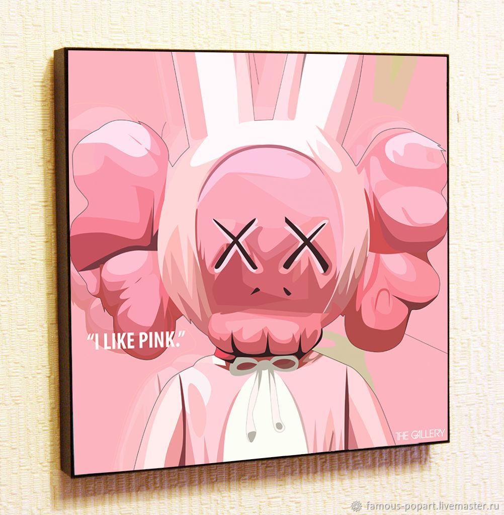 Picture Poster Toy Kaws' Rabbit Pink ' in Pop Art style, Pictures, Moscow,  Фото №1