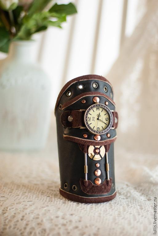 Часы ручной работы. Ярмарка Мастеров - ручная работа. Купить Наручные стимпанк часы. Handmade. Черный, коричневый, стимпанк, часы