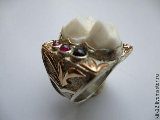 """Кольца ручной работы. Ярмарка Мастеров - ручная работа. Купить Перстень серебро+золото """"Медвежий зуб"""" авторская работа художника. Handmade."""