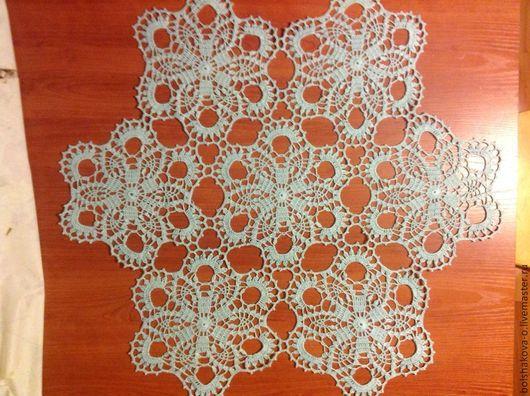 Текстиль, ковры ручной работы. Ярмарка Мастеров - ручная работа. Купить Салфетка на круглый стол. Handmade. Голубой, вязанная салфетка